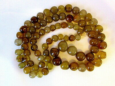 Natural AGATE Polished / Tumbled Graduated Gemstone Fine Necklace 80 BEADS 23  L • 14.95£