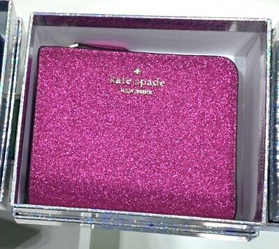 $ CDN75.28 • Buy NWT Kate Spade Lola GLITTER Small Wallet L-Zip Bifold With Box Hot Pink