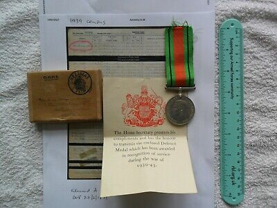 Genuine WW2 Defence Medal With Original Box And Certificate With Research • 22£