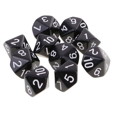 AU8.69 • Buy 10pcs 10 Sided Dice D10 Polyhedral Dice For  Games Black