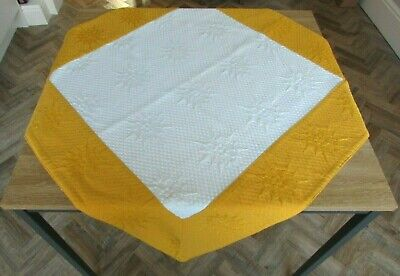 French Quilted Boutis Table Cloth/throw Yellow White Sunflowers Excellent Cond • 4.50£