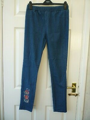 AVON Ladies Size 10 12 Blue Floral Embroidered Stretchy Skinny Leggings Jeggings • 7.99£