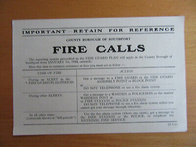WWII Civil Defence  ARP County Borough Of Southport Fire Call Sheet 1944 • 5£