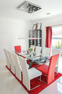 AU1300 • Buy Modern Luxury 10 Seater Extending Glass Dining Set With 12 Chairs