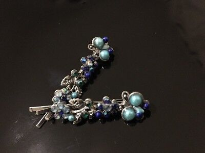 * Vintage Blue Butterfly Hair Pin Clip Sparkly Bobby Clips Pins Uk Seller. • 1.49£