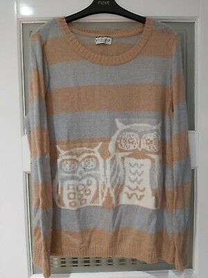 Womens Indigo Size 16 Light Blue And Caramel Jumper With Two Owls On The Front • 5£