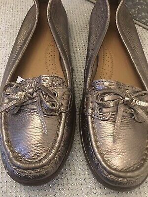 M&s Footglove Pewter Leather Boating Shoes  5 Worn Once • 14.99£