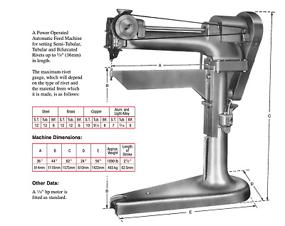 £3750 • Buy Power Operated Automatic Feed Rivet Machine For Rivets Up To 5/8  (16mm) Length
