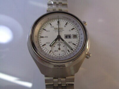 $ CDN98.27 • Buy Seiko Chronograph Mens Watch Day & Date Automatic Helmet White Dial 6139-7100