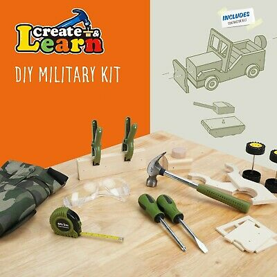 Create & Learn Kids DIY Military Project Kit With Real Tools & Camo Vest • 20.38£