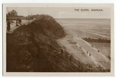 RP BISPHAM THE CLIFFS AND BEACH BLACKPOOL LANCS REAL PHOTO C1920  • 5£
