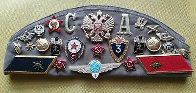Russian Military Pilotka Garrison Hat 25 Pins Etc And 3 Patches Vintage USSR VGC • 18.25£