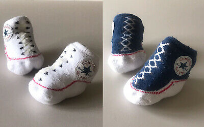 Infant Converse Booties 0-6 Months - 2 Pairs Unisex Baby Girls Boys Slip-on Sock • 0.99£