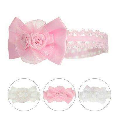 Baby Girls Shiny Lace Headband Hair Band With Bow And Flower -  Soft Touch • 2.95£