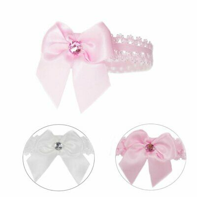£2.99 • Buy Baby Girls Lace Headband Hair Band With Satin Bow And Gem -  Soft Touch