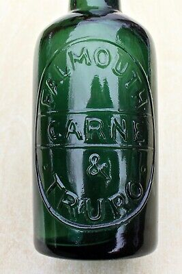 Vintage Carne Falmouth & Truro Cornwall Emerald Green Glass 1/2 Pint Beer Bottle • 9.95£