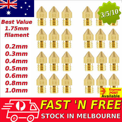 AU5.95 • Buy 5/10pcs For Ender 3 PRO CR10 3D Printer Brass Nozzles MK8 NEW All Sizes