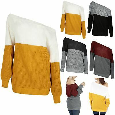 Ladies Chunky Knitted Oversized Womens Contrast Block Off The Shoulder Jumper • 8.99£