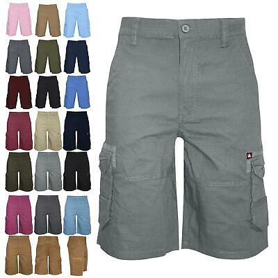 Airwalk Mens Plain Shorts Cargo Combat Chino Long 3/4 Pants Single Pockets ZipUp • 5.49£