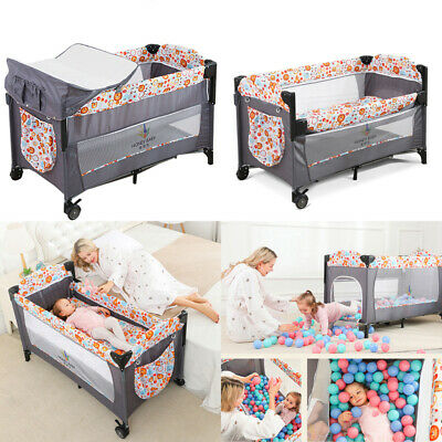 Portable Next To Me Baby Bedside Crib Travel Cot Sleeper With Mattress Playpen • 82.75£