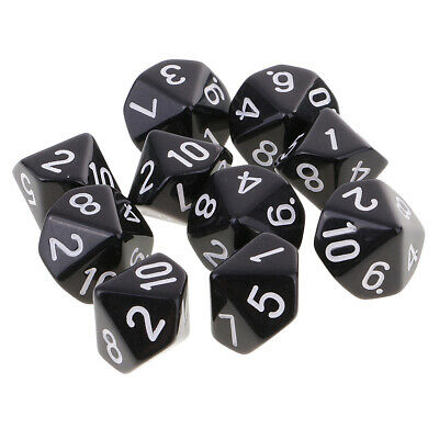 AU7.99 • Buy 10pcs 10 Sided Dice D10 Polyhedral Dice For  Games Black