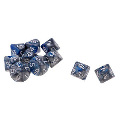 AU9.29 • Buy 10pcs D10 16mm Dice For Friends ,Family , Travel Board Games Gifts Blue+Gray
