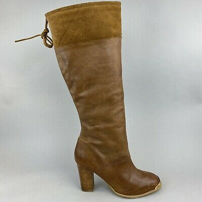 Faith Brown Leather Suede Long Knee High Pull On Heeled Boho Booties Boots UK7  • 39.10£