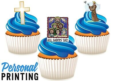 £2.79 • Buy ALL SAINTS DAY TRIO MIX - 12 Edible Cupcake Toppers Love Religious