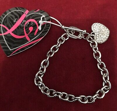 Lipsy Silver Colour Crystal Heart Charm T-Bar Bracelet • 4.99£