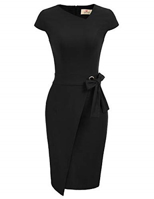GRACE KARIN Women Vintage Ruffle Wrap Club Midi Party Bodycon Dress Black L • 33.27£
