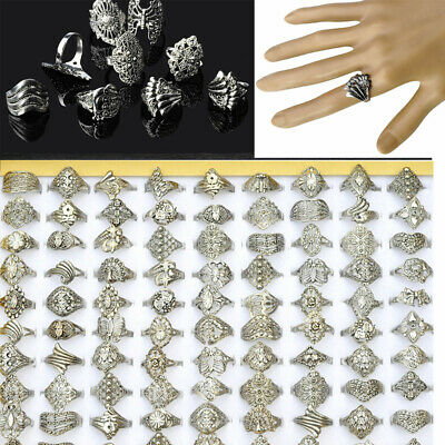 AU3.39 • Buy 10pcs Wholesale Bulk Ring Jewelry Lots Mixed Style Tibet Silver Vintage Rings