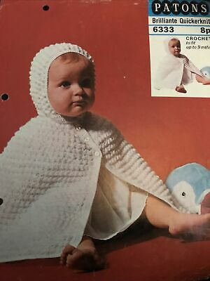 Original Vintage Crochet Pattern Patons 6333 Babies Cosy Hooded Cape • 3£