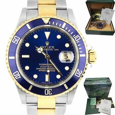 $ CDN13979.81 • Buy UNPOLISHED 2004 Rolex Submariner Date 16613 Two-Tone Gold Stainless Blue 40mm