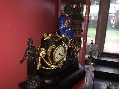 Antique French Marble Napoleon III Figurine Clock & Antique Slate • 995£