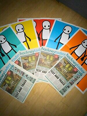 Stik Posters. Hackney Today 2020 Set Posters Perfect Condition +Newspapers. • 450£