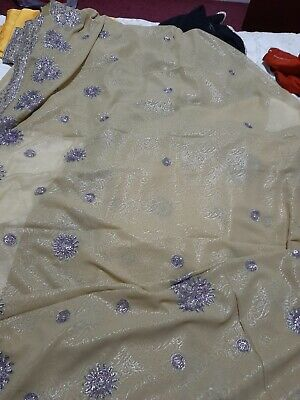 Asian Indian Pakistani Saree Party Wedding Preowned Unworn With Blouse Size 12 • 3.80£