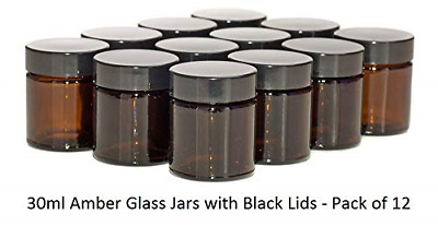 Aura 30ml Amber Glass Jars With Black Lids - Pack Of 12 • 18.41£