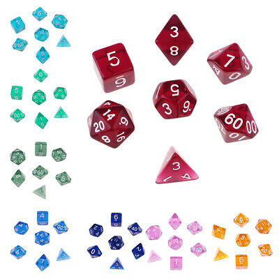 AU7.99 • Buy Multi Sided Dice Set Of 7Pieces D4 D6 D8 D10 D12 D20 For Dungeons D&D RPG 8Color