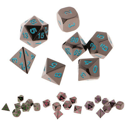 AU18.53 • Buy 7Pcs Alloy Polyhedral D4 D6 D8 D10 D12 D20 Dice Die For   Toy