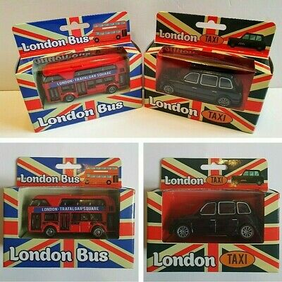 £10.95 • Buy Red London Bus + London Black Taxi Cab Toy Cars - New + Sealed - Freepost