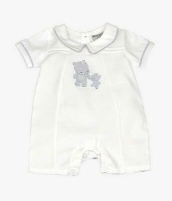 Baby Boys Spanish Romany White & Grey Teddy Design Short Romper Suit Outfit • 12£