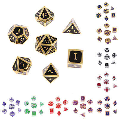AU21.15 • Buy 7pcs Alloy Multi Side Dice D4 D6 D8 D12 D10 D20 For Tabletop RPG DND Game