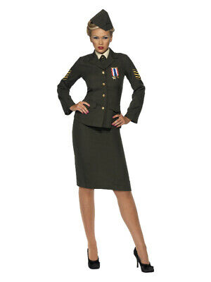£78.18 • Buy Ladies Wartime Officer Costume 1940s WW2 Army Uniform Fancy Dress Outfit 8-26