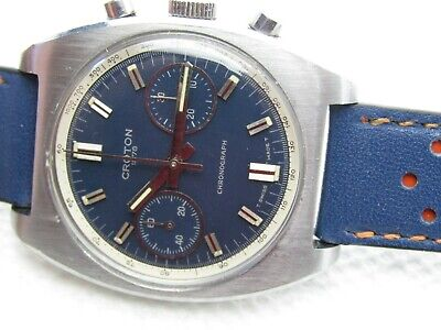 $ CDN794.81 • Buy Vintage Croton Chronograph Valjoux 7733 Blue Dial Steel Case