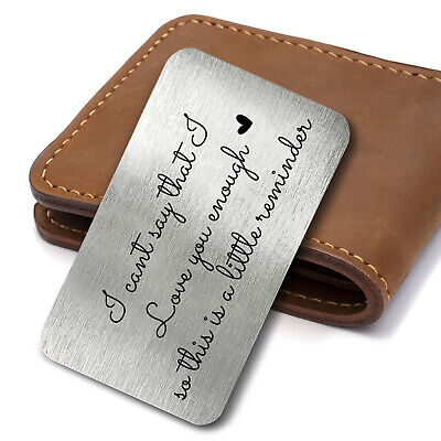 £3.39 • Buy Love You Enough Quote Valentines Day Metal Card Keepsake Wallet Card Insert Gift