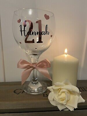 Personalised Gin Glass - Any Name - Birthday 18th 21st 30th 40th 50th Rose Gold • 8.95£