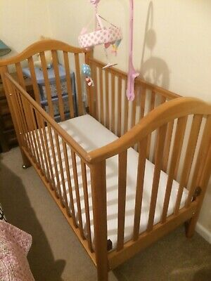 Drop Side Cot Cosatto - Natural Beech Wood With Mattress • 12.20£