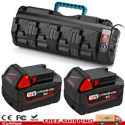 $95.99 • Buy 18V 5.0Ah Lithium Battery / 4 Ports Multi Charger For Milwaukee M18 48-11-1860