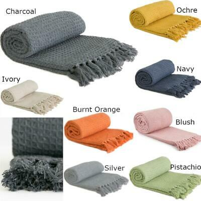 £12.99 • Buy Throw Blanket Sofa Bed Throwover Recycled 100% Cotton Honeycomb Fringed Throws