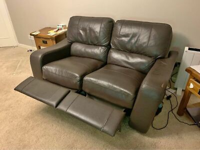 3 Piece Suite Brown Leather Recliner Reclining Sofa • 1£